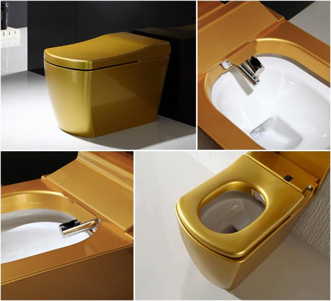 Gold Color Smart One Piece Toilet 220V / 110V  Intelligent remote control automatic toilet