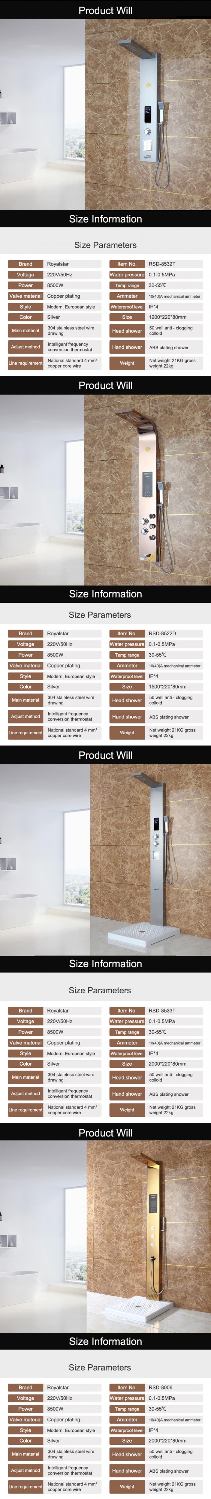 Massage Spray Bathroom Shower Panels 8 - 10μm Nickel Plating Thickness
